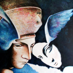Angels- 2008 mixed media on canvas cm.90x100x4