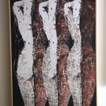 Back2 -2015- tecnica mista su tela cm.80x100x5 con listello legno naturale