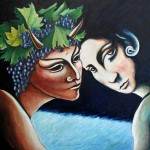 Bacchus 2007 oil on wood cm.40x40x2