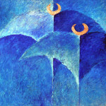 Deep blue- 1998 oil on wood cm.120x120