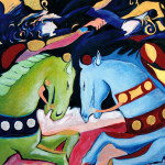 Horses and riders 2003 mixed media on wood cm.74x84
