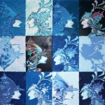 Blue warriors 2006 mixed media on canvas cm.90x90x2