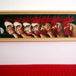 The cockerel's riddle2- oil on wood cm.20x75 with boxwood frame cm.26x81