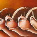 Snail 2003 oil on wood cm.30x100 (private collection)