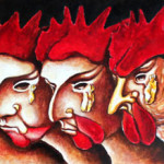 The cockerel's riddle 2001 oil on wood cm20x75