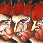 The cockerel's riddle 2000 oil on wood cm.30x120
