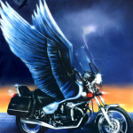 Moto Guzzi Florida 1996 airbrush on cardboard