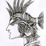 disegno bnero profilo pesce a matitebassarisol
