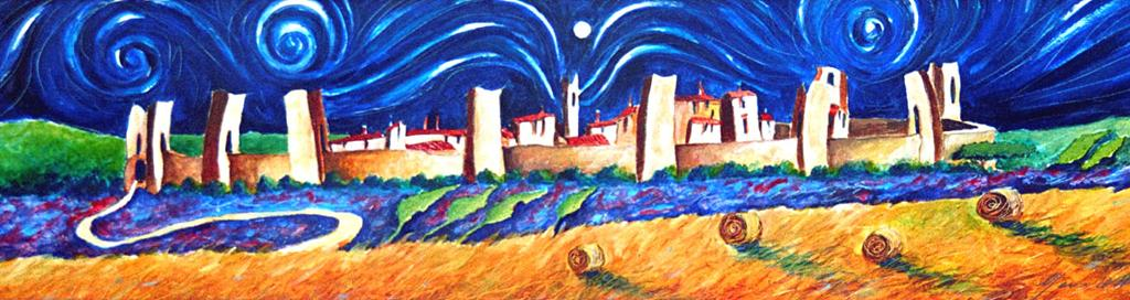 The castle of Monteriggioni 2003 cm.30x100  (Germany private collection)