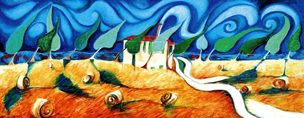 Tuscan farm in Pienza 1999-oil on canvas cm.40x100 (USA private collection)