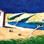 Tuscan farm 2004 mixed media on cardboard cm.24x69