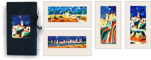 Tuscan landscapes-mini cardboard catalogue and 4 passepartout prints cm.12x22