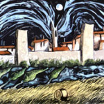 The castle of Monteriggioni 1999 engraving on zinc plate coloured to hand cm.11x42