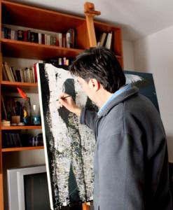 l'artista nel suo studio Aprile 2010